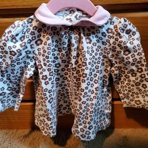 Little Me 9 month brown & pink collared dress